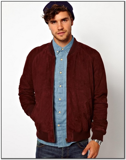 Burgundy Suede Bomber Jacket Mens