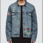 Jean Jacket With Rose Patches Mens