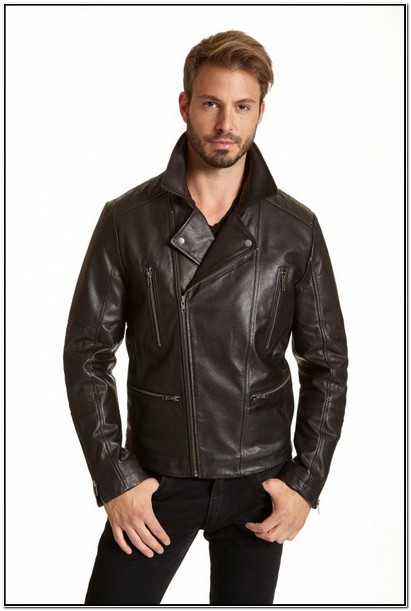 Mens Asymmetrical Leather Motorcycle Jacket
