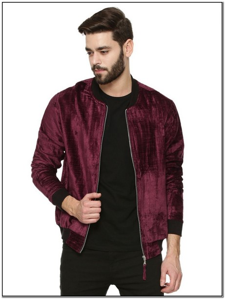 Mens Burgundy Velvet Bomber Jacket