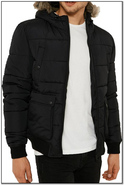 Mens Long Puffer Jacket With Fur Hood