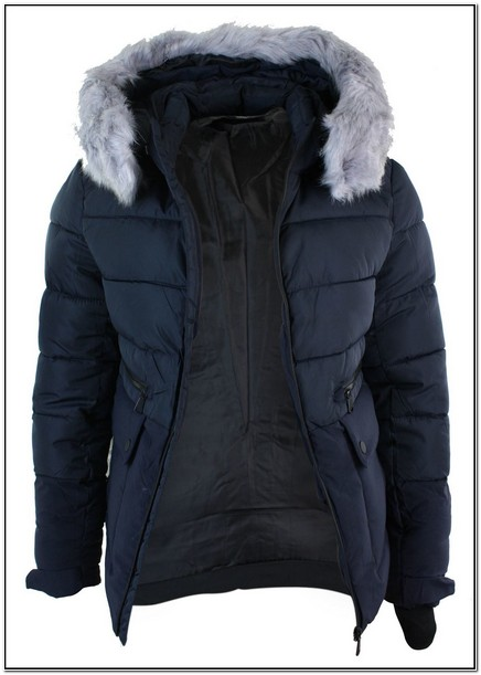 Mens Navy Puffer Jacket With Fur Hood