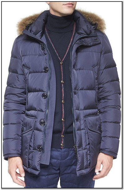 Moncler Puffer Jacket With Fur Hood Mens