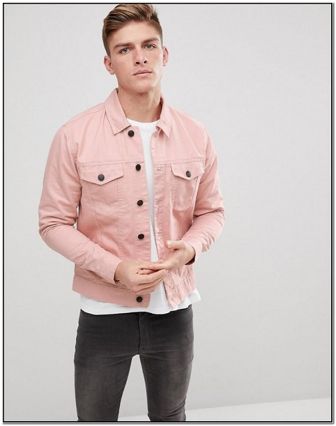 Pink Denim Jacket Mens