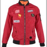 Red Bomber Jacket With Patches Mens