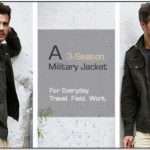Wenven Mens Fall Casual Cotton Army Lightweight Jacket